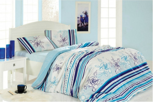 Комплект постельного белья Arya Flower Blue, 100% хлопок, размер полуторный