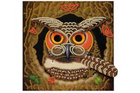 Набор для вышивки бисером Совушка, размер 15х15 см, арт. 1289