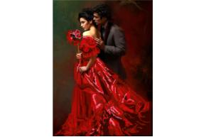 Набор для вышивки бисером Девушка в красном, размер 25х34 см, арт. 1350