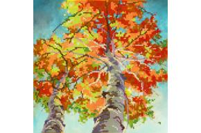 Набор для вышивки бисером Осенние березы, размер 25х25 см, арт. 1376