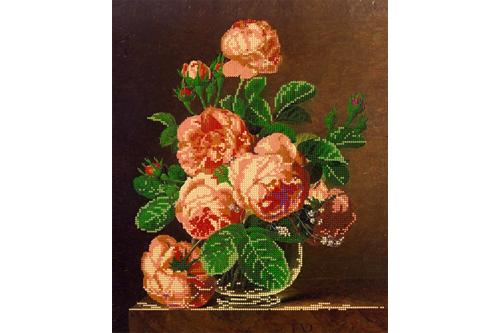 Набор для вышивки бисером Розы в вазе, размер 30х36 см, арт. 1425