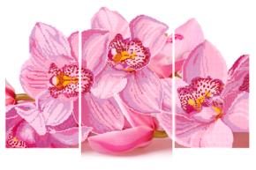 Схема для вышивки бисером POINT ART Триптих Орхидея, размер 90х20 см, арт. 1652