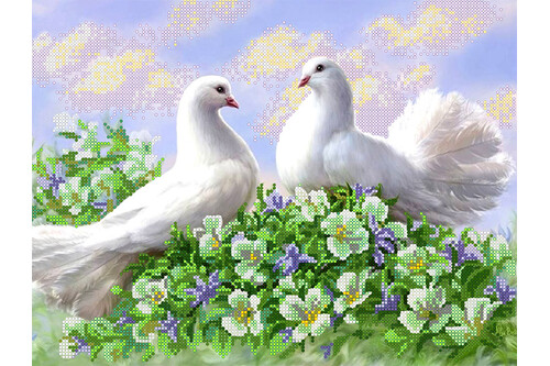 Схема для вышивки бисером POINT ART Пара белых голубей, размер 33х25см, арт.1884