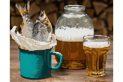 Набор для вышивки бисером POINT ART Пиво с рыбкой размер 24х19 см арт. 1874