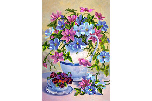Набор для вышивки бисером POINT ART Чайный букетик размер 17х25 см арт. 1881
