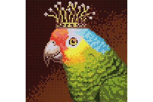 Набор для вышивки бисером POINT ART Зеленый попугайчик размер 15х15 см арт. 1977