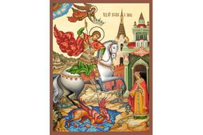 Схема для вышивки бисером POINT ART  Битва Георгия со змием, размер 32х42 см, арт. 1224