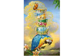 Набор для вышивки бисером Попугай и чашки, размер 26х40 см, арт. 1304