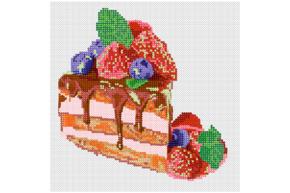 Схема для вышивки бисером POINT ART Вкусный торт, размер 20х20 см, арт. 1664