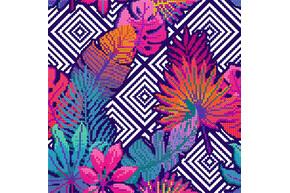 Схема для вышивки бисером POINT ART Тропические листья и геометрия, размер 22х22 см, арт. 1805