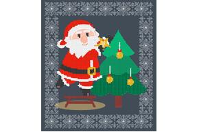 Схема для вышивки бисером POINT ART Санта Клаус с елочкой, размер 18х20 см, арт. 1959
