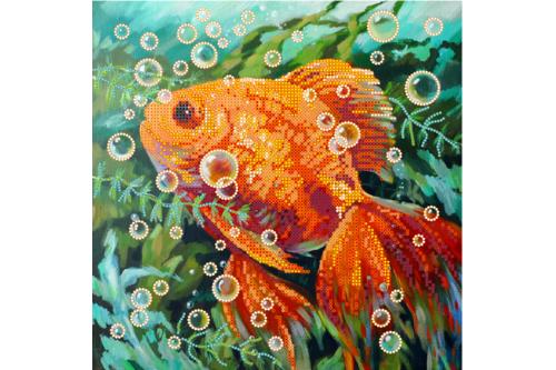 Набор для вышивки бисером POINT ART Золотая рыбка, размер 25х25 см, арт. 1248