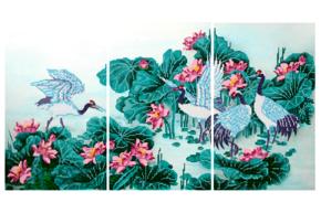 Схема для вышивки бисером POINT ART Триптих Журавли. Символ долголетия, размер 60х33 см, арт.1606/1607/1608