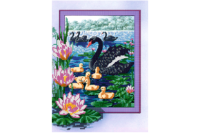 Схема для вышивки бисером POINT ART Чёрные лебеди, размер 22х30 см, арт.1612