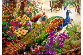 Схема для вышивки бисером POINT ART Павлины в цветах, размер 30х21 см, арт.1622