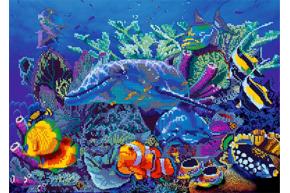 Схема для вышивки бисером POINT ART Дельфины и рыбы, размер 42х30 см, арт.1699