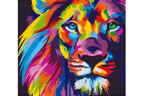 Схема для вышивки бисером POINT ART Цветной лев, размер 35х31 см, арт. 1764