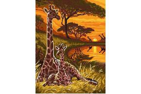 Схема для вышивки бисером POINT ART Семья жирафов, размер 21х28 см, арт.1855