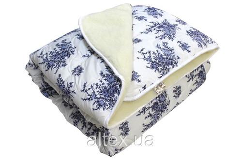 Одеяло меховое, бязь Белые Розы 100% хлопок, размер 180х215 см, двуспальное