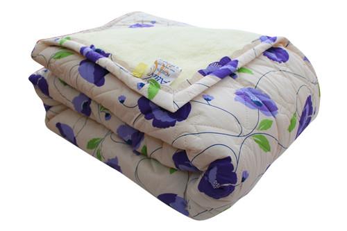 Одеяло меховое стеганое Синие маки, размер 200х215 см, евро