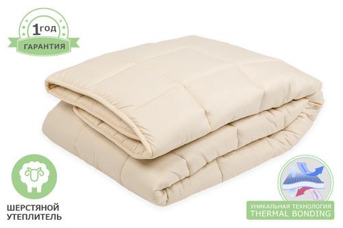 Одеяло шерстяное стеганое, размер 175х200 см, двуспальное, зимнее плюс