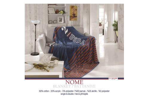 Плед хлопковый U.S.Polo Assn - Nome синий 150x200