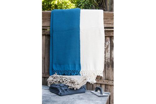 Плед-накидка Buldans - Bohem denim синий 130x180