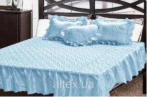Комплект атласный 226, 100% полиэстер, покрывало с рюшами + подушки