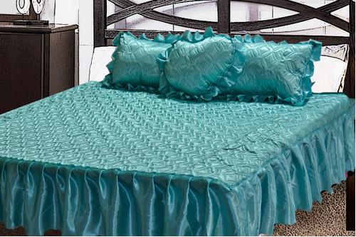 Комплект атласный 205, 100% полиэстер, покрывало с рюшами + подушки