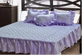 Комплект атласный 208, 100% полиэстер, покрывало с рюшами + подушки