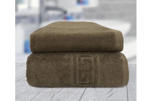 Комплект полотенец, 100% хлопок,коричневый, размер 50х90+70х140 см
