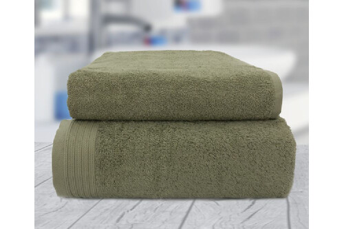 Комплект полотенец, 100% хлопок, оливка, размер 50х90+70х140 см