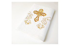 Крыжма Lotus вышивка - Белый с золотом 70*140 (16/1) 400 г/м²