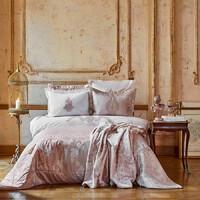 Набор постельное белье с покрывалом + плед Karaca Home - Adrila rosegold