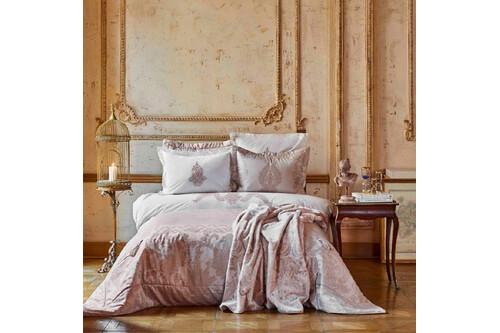 Набір постільна білизна з покрівалом + плед Karaca Home - Adrila rosegold