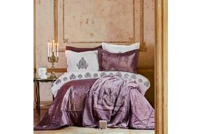 Набор постельное белье с покрывалом + плед Karaca Home - Ilona murdum сиреневый евро (10)