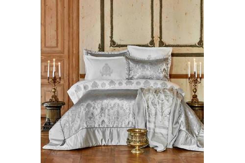 Набор постельное белье с покрывалом + плед Karaca Home - Ilona silver серебро евро (10)