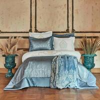 Набор постельное белье с покрывалом + плед Karaca Home - Ofelia mavi голубой евро (10)