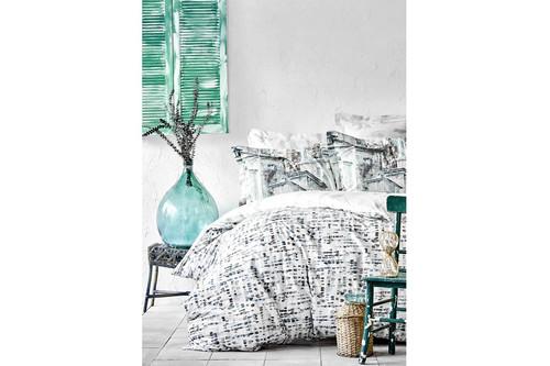 Постельное белье Karaca Home ранфорс - Vella mavi 2020-1 голубой полуторное