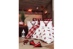 Постельное белье Eponj Home - Geyik Bordo бордовый ранфорс, полуторный