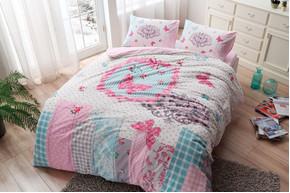 Постельное белье Tac Flanel - Butterfly розовый евро