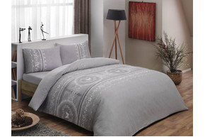 Постельное белье Tac Flanel - Sonya gri v01 серый евро