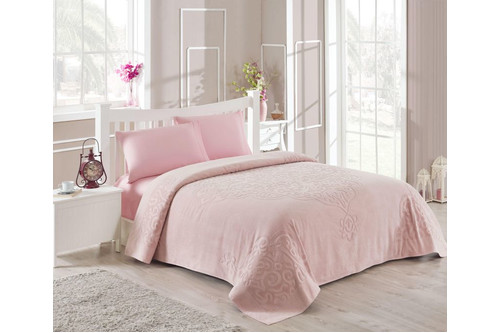 Набор постельного белья TAC сатин + махровая простынь - Dama a.gul kurusu пудра евро