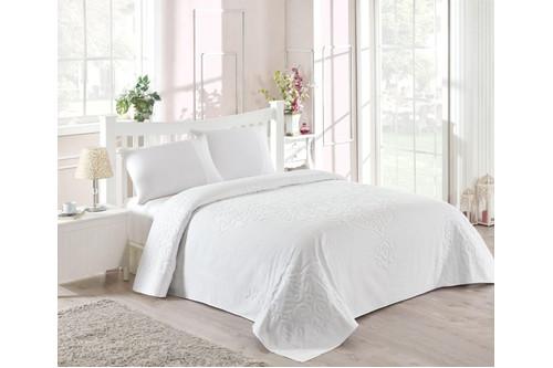 Набор постельного белья TAC сатин + махровая простынь -  Dama fildisi молочный евро