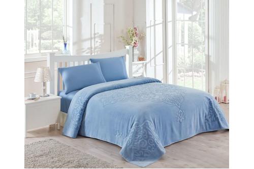 Набор постельного белья TAC сатин + махровая простынь -   Dama mavi голубой евро