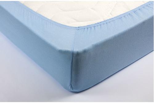 Простынь на резинке трикотажная Lotus - Голубая 160*200+25 см