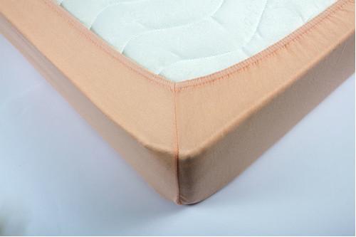 Простынь на резинке трикотажная Lotus - Персиковая 160*200+25 см
