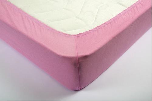 Простынь на резинке трикотажная Lotus - Розовая 160*200+25 см