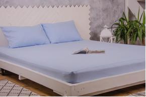 Простынь фланелевая на резинке с наволочками Point-Art - голубой 160*200 + 50*70(2)