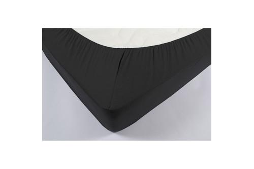Простынь на резинке трикотажная Lotus - Черная 160*200+25 см